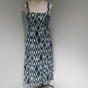 GUC Tory Burch fish print Maxi dress blue & grn 8